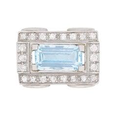 Art Deco Style 1.50 Carat Aquamarine and Diamond Cluster Cocktail Ring