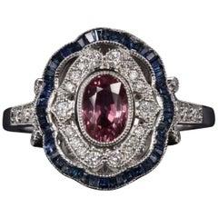 Art Deco Style 1.50 Carat Sapphire Diamond Cocktail Ring