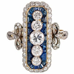 Art Deco Style 1.52 Carat Diamond and Sapphire Plaque Ring