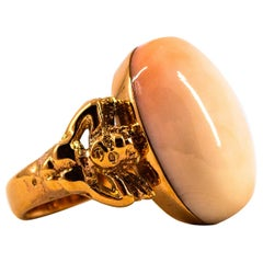Art Deco Style 17.50 Carat Pink Cabochon Cut Coral Yellow Gold Cocktail Ring