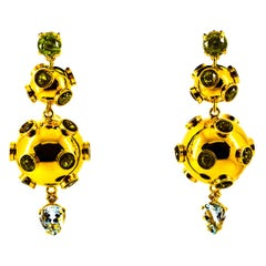 Art Deco Style 17.65 Carat White Diamond Aquamarine Peridot Yellow Gold Earrings