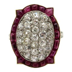 Art Deco Style 18 Karat and Platinum Old European Cut Diamond and Ruby Ring