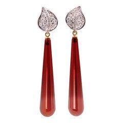 Art Deco Style 18 Karat Gold 0.39 Karat White Diamonds Carnelian Dangle Earrings