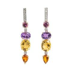 Art Deco Style 18 Karat Gold 0.44 Karat White Diamonds Amethyst Citrine Earrings