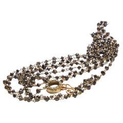 Art Deco Style 18 Karat Gold 40.9 Carat Brown Diamonds Beaded Sautoir Necklace