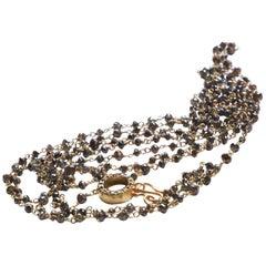 Art Deco Style 18 Karat Gold 40.9 Carat Brown Diamonds Beaded Slightly Sautoir