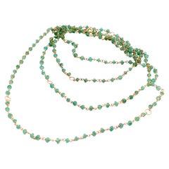 Art Deco Style 18 Karat Gold 45 Karat Emeralds Twisted Chain Beaded Necklace