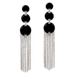 Art Deco Style 18 Karat Gold Black Onyx Chain Drop Diamond Earrings