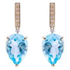 Art Deco Style 18 Karat Gold Blue Topaz 0.06 Karat White Diamonds Earrings
