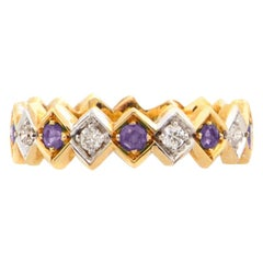 Art Deco Style 18 Karat Yellow Gold 0.08 Karat White Diamond Amethyst Band Ring