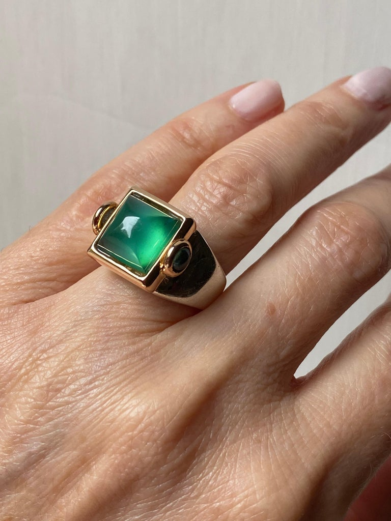 Art Deco Style 18 Karat Yellow Gold Green Agate Tourmaline Silver Cocktail Ring For Sale 4