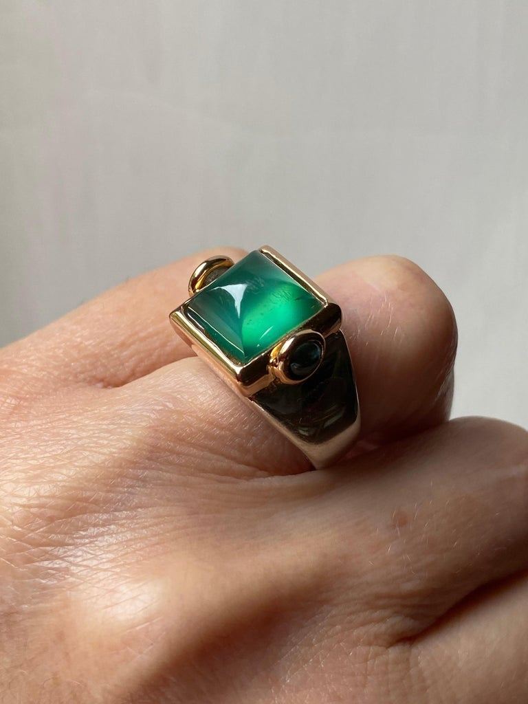 Art Deco Style 18 Karat Yellow Gold Green Agate Tourmaline Silver Cocktail Ring For Sale 6