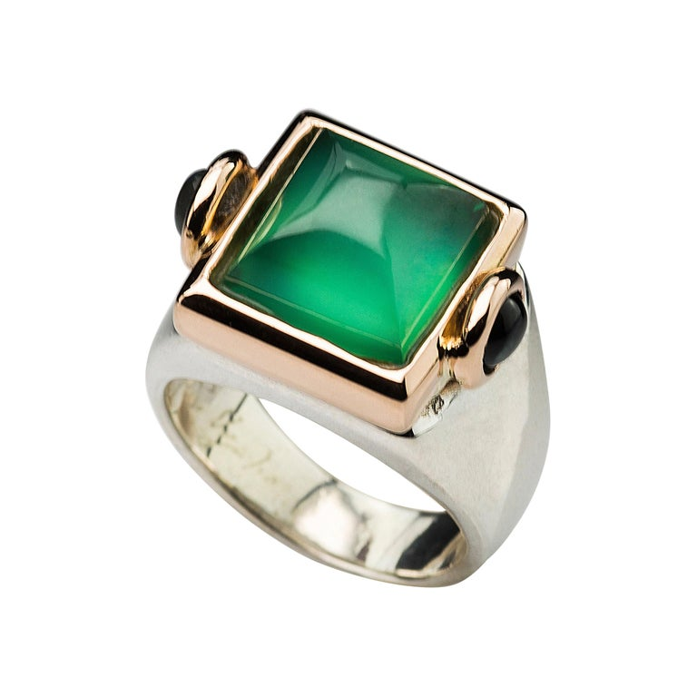 Art Deco Style 18 Karat Yellow Gold Green Agate Tourmaline Silver Cocktail Ring For Sale