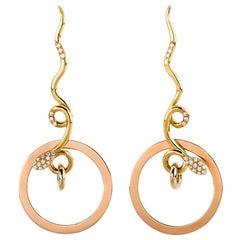 Art Deco Style 18Karat Yellow Gold 0.20Karat White Diamond Snake Dangle Earrings