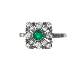 Art Deco Style 18 Carat White Gold Diamond Emerald Engagement Ring