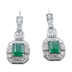 Art Deco Style 18ct White Gold High Level Emerald & Diamond Drop Earrings