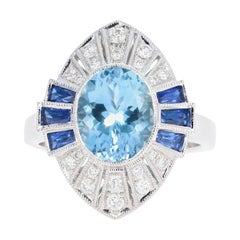 Art Deco Style 18K White Gold 2.35 Carat Aquamarine and Sapphire Ring
