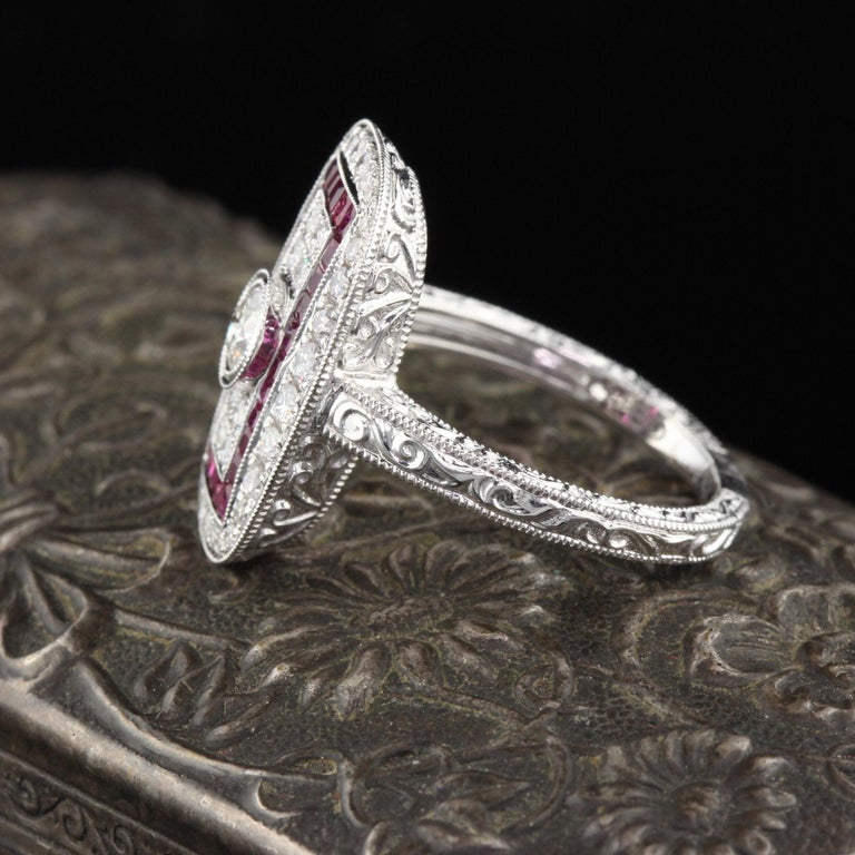 Contemporary Art Deco Inspired 18 Karat White Gold Ruby and Diamond Ring For Sale