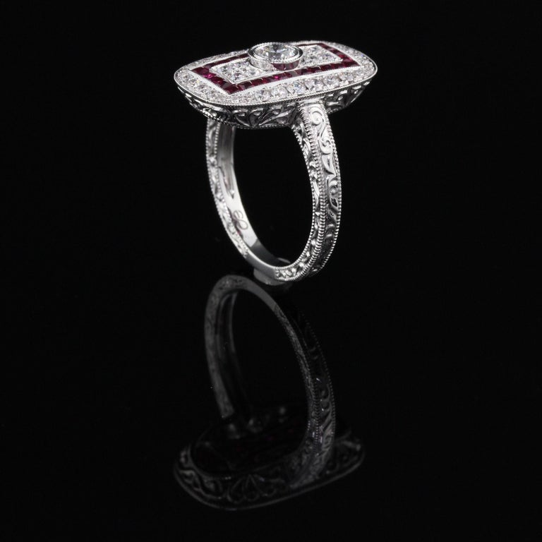 Art Deco Inspired 18 Karat White Gold Ruby and Diamond Ring In Good Condition For Sale In Great Neck, NY