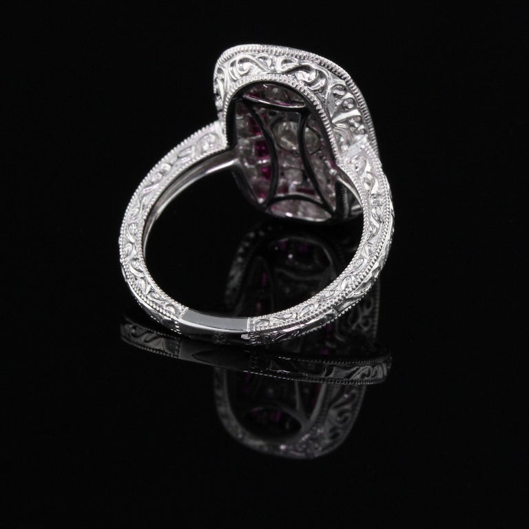 Women's or Men's Art Deco Inspired 18 Karat White Gold Ruby and Diamond Ring For Sale