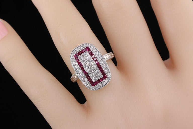 Art Deco Inspired 18 Karat White Gold Ruby and Diamond Ring For Sale 1