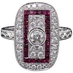 Art Deco Inspired 18 Karat White Gold Ruby and Diamond Ring