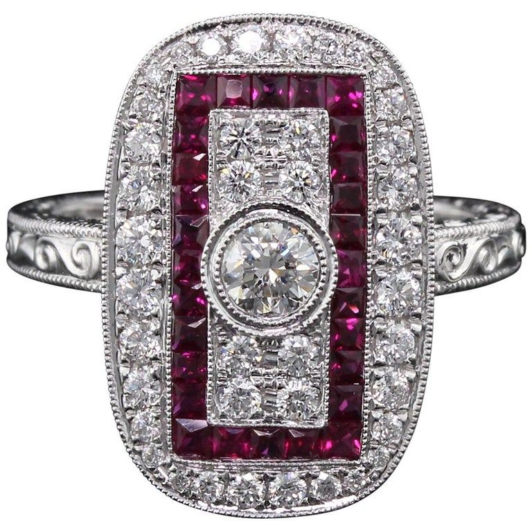 Art Deco Inspired 18 Karat White Gold Ruby and Diamond Ring For Sale