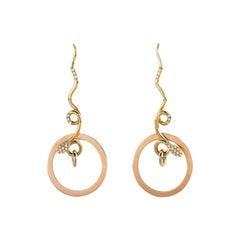 Art Deco Style 18Karat Gold 0.20Karat White Diamond Snake Dangle Design Earrings