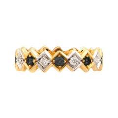 Art Deco Style 18Karat Gold 0.22Karat Black Diamond 0.08Karat White Diamond Ring