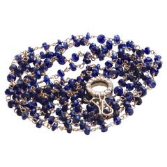 Art Deco Style 18Karat Gold 43.5Karat Sapphires 0.44Karat White Diamonds Sautoir