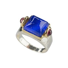Art Deco Style 18Karat Gold Silver Sterling Blue Lapis Lazuli Castle Design Ring