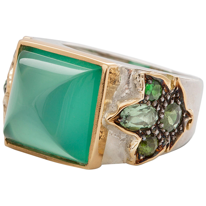 Art Deco Style 18Karat Gold Silver Sterling Green Agate Green Tourmaline Ring