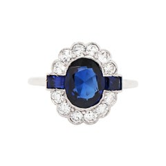 Art Deco Style 1.90 Carat Sapphire and Diamond Platinum Cluster Ring