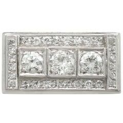 Art Deco Style 1950s 1.89 Carat Diamond and Platinum Cocktail Ring