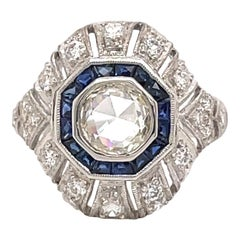 Art Deco Style 1ct Rose Cut Diamond with Sapphire Ring 18k White Gold