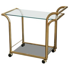 Art Deco Style 2-Tier Clear and Smoked Glass with Brass Frame Bar / Service Cart