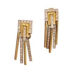 Art Deco Style 2-Tone 18 Karat Gold Fringe Style Diamond Earrings