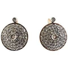 Art Deco Style 2.00 Carat White Rose Cut Diamond Yellow Gold Lever-Back Earrings