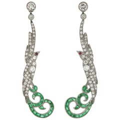 Art Deco Style 2.00 Total Carat Diamond, Emerald, Ruby Exotic Bird Earrings