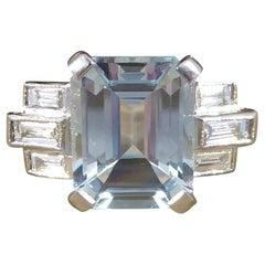 Art Deco Style 2.00ct Aquamarine and Diamond Geometric Ring in Platinum