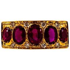 Art Deco Style 2.10 Carat White Brilliant Cut Diamond Ruby Yellow Gold Band Ring