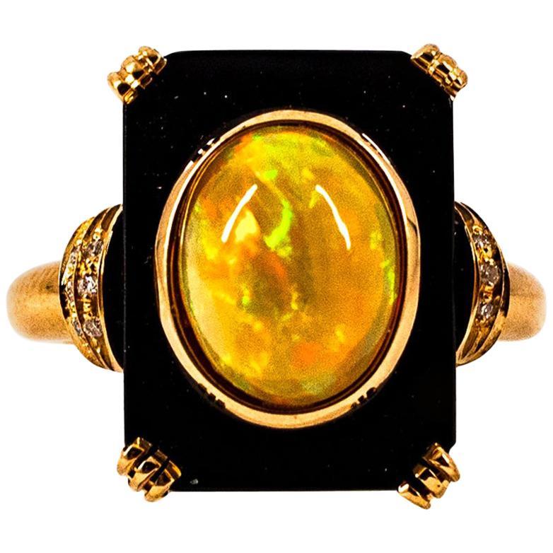 Art Deco Style 2.12 Carat White Diamond Opal Onyx Yellow Gold Cocktail Ring