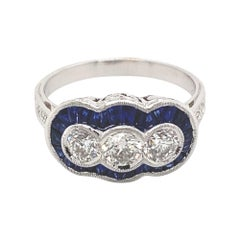 Art Deco Style 2.12ct Sapphire & Diamond Three Stone Ring 18 Karat White Gold