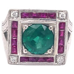 Art Deco Style 2.15 Carat Emerald with Rubies & Diamonds Ring 18k White Gold