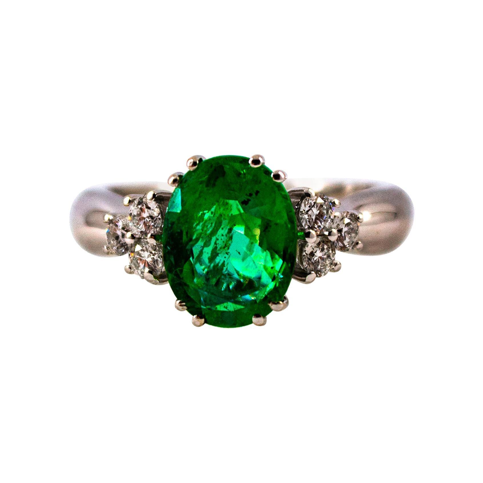 Art Deco Style 2.43 Carat Emerald 0.35 Carat Diamond White Gold Cocktail Ring