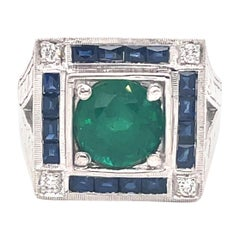 Art Deco Style 2.47 Carat Emerald with Sapphires & Diamonds Ring 18k White Gold