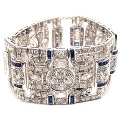 Art Deco Style 24.95ct Diamond & Sapphire Bracelet 18k White Gold