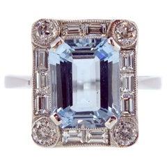Art Deco Style 2.50 Carat Aquamarine and Diamond Ring