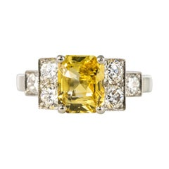 Art Deco Style 2.51 Carat Yellow Sapphire Diamonds Platinum Ring