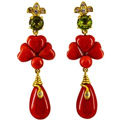 Art Deco Style 2.56 Carat White Diamond Peridot Red Coral Yellow Gold Earrings